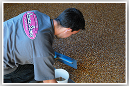 Man Installing Nature Stone Flooring