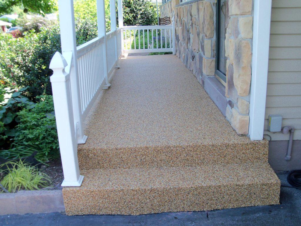 outdoor stone and epoxy walkways
