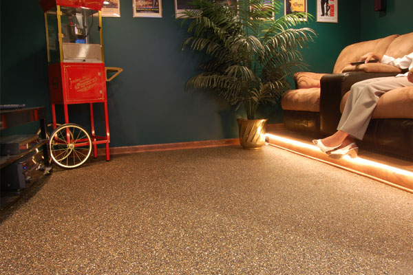 Nature Stone Basement Flooring with Popcorn Machine & Best Basement Stone and Epoxy Flooring