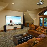 Large Media Room with Nature Stone