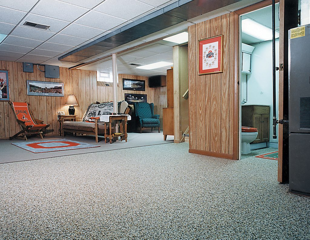 Best basement stone and epoxy flooring for Best floor covering for basement
