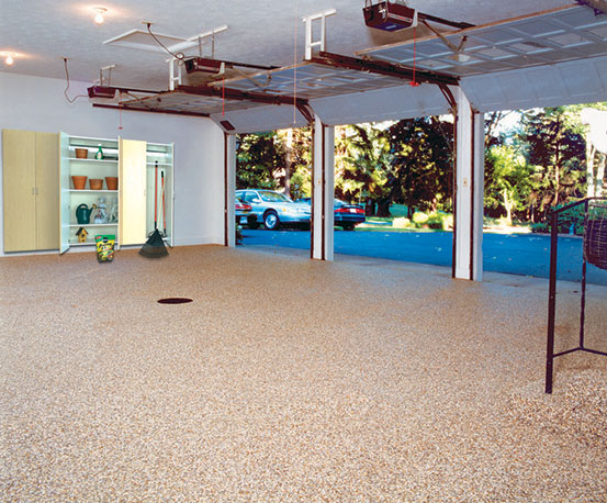 Nature stone flooring for garage basement and commercial floors cover uneven concrete and beautify your garage with nature stone solutioingenieria Images